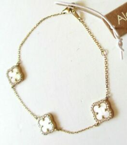 Alexa & Tori Mother Of Pearl Clover Pave Sterling Silver Bracelet Gold New Tags