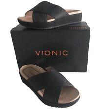 Vionic Women's Hayden Size 6.5 M Black Leather Open Toe Slide Comfort Sandals