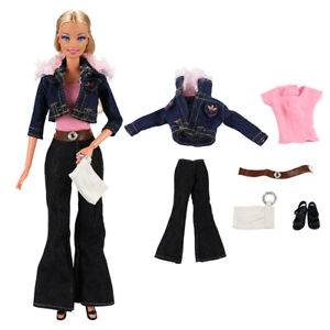 Barwa Denim jacket+underwear+denim pants+shoes+notebook+belt for Barbie doll