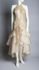 Vintage Gold Lace Beaded Prom Dress, S