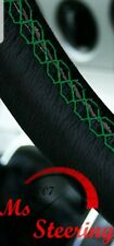 FOR BLACK LEATHER STEERING WHEEL COVER,  VW CADDY 3 FACELIFT10+ WITH GREEN STIT