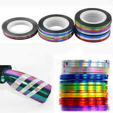 7 Rolls/Set Holographic Nail Stripe Tapes Laser Adhesive Line DIY Decal Stickers
