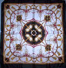Silky Satin Scarf 33x33 Black White Gold Red Tassels