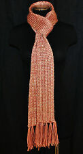 "Very Long 3.25"" x 96"" BoHo HIPPIE Versatile Layering Pink w/ Gold Knit Scarf"