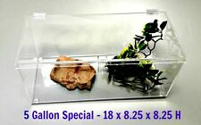 5 GALLON SPECIAL-  TERRESTRIAL CAGE WITH HINGED TOP -TARANTULA,REPTILES,,SNAKES