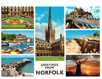 Greetings From Norfolk, England - Multiview. Rare Picture Postcard