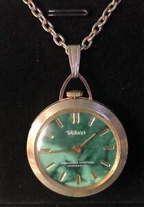 Vtg Webster Unbreakable Mainspring Antimagnetic Manual Pendant Watch Necklace