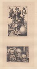 Sebald Beham, Fortuna e Tre Teschi, 1650, XIX secolo   acquaforte