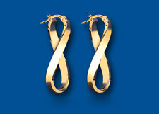 Infinity Gold Hoop Earrings Creole Yellow Gold Hoops 29mm