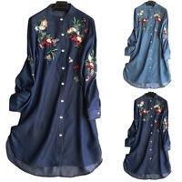Mode Femme Broderie en jean Manche Longue Floral Boutonnage Chemise Haut Tops