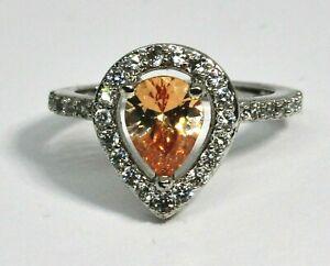 Fragrant Jewels Ring Size 5 Teardrop Pale Yellow Amber Rhinestone