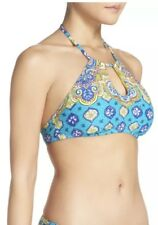 Trina Turk Swim Corsica High Neck Keyhole Halter Top Blue Brand New R$88 Size 10