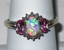 10k w.gold Estate ring,lab created Opal, Pink topaz, Diamond, t.w 2.70 gr,size 7