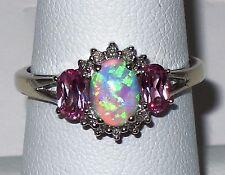 10k w.gold Estate ring,lab created Opal, Pink topaz, Diamond, t.w 2.70 gr,size 7