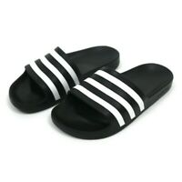 Adidas Women Slides Slip On Shoes Size 6 Striped Black BRAND NEW Cloudfoam