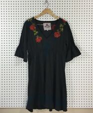Johnny Was JW Women's Gray Embroidered Rose Floral V Neck 3/4 Sleeve Dress - XL