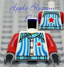 NEW Lego Boy/Girl WHITE MINIFIG TORSO Shirt Jacket w/Red Star & Blue Stripes