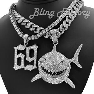 """Iced Shark & 69 6ix9ine Pendant & 18"""" Iced Cuban & 1 Row Chain Bling Necklace"""