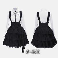 Women's Classic Lolita Dress Vintage Cosplay Anime Girl Black Knee Length Dress