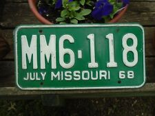 Vintage 1968 Missouri License Plate # MM6-118, MO