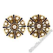 Vintage 14K Yellow Gold 0.35ctw Diamond Pearl Enamel Round Button Omega Earrings