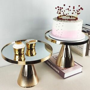 Golden Stand Mirror Trays Wedding Party Crafts Metal Dessert Table Cake Decor