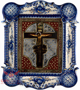 Russian Porcelain Gzhel gold Christian Icon of Jesus Crucifixion Кошарский Крест