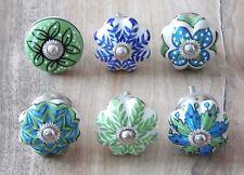 Schrankknöpfe / Möbelknöpfe , Blau - Grün,  4,5 cm Ø , Keramik , 6 Stück im Set