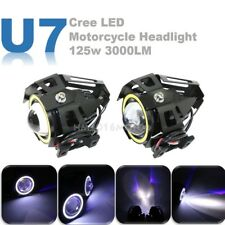 2x 125W U7 Motorcycle Cree LED Headlight Driving Spotlight Fog Lights White+Blue