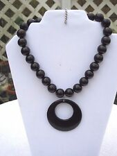 "Ladies Fashion necklace 26 Black beads & 2 1/2""  Drop 18"" with lobster clasp"