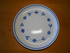 """Caleca Italy Set of 2 Dinner Plates 11"""" Blue Band & Blue Garland Flowers on Wht"""