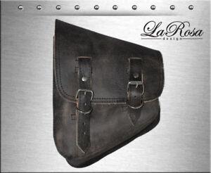 La Rosa Rustic Black Leather Harley Softail Rigid Left Swing Arm Saddlebag