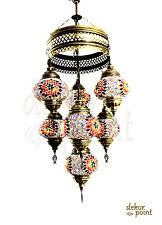 Orientalische Türkische Handgefertigte Mosaik Hängelampe Glas 7 Lichter Gr. 2