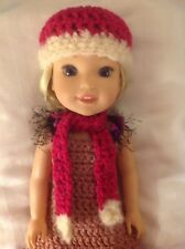 Wellie Wishers bright pink scarf/hat beanie American Girl 14 doll clothes fit