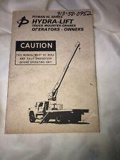 Pitman Hydra-Lift HL Series Boom Truck Mounted Crane Owners Manual