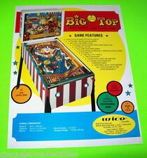 BIG TOP By WICO 1977 ORIGINAL NOS HOME MODEL PINBALL MACHINE PROMO SALES FLYER