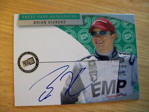 BRIAN VICKERS  AUTHENTIC AUTOGRAPH card 2002 PRESS PASS AUTOGRAPHS NASCAR
