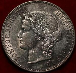 Uncirculated 1909-B Switzerland 5 Francs Silver Foreign Coin