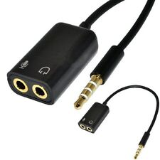 3.5mm Aux Stereo Jack Male Audio Splitter Cable Microphone For Headphone