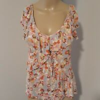 LC LAUREN CONRAD Tiered Ruffle T Shirt Blouse Top Knit Floral V Neck S Boho Chic