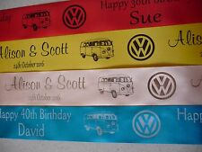 VW Volkswagen Campervan personalised ribbon for cakes gifts 45mm width x 1 met.
