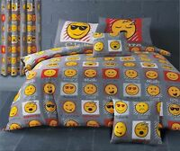 EMOJI LOL CHILL SNOOZE CHEEKY GREY YELLOW RED COTTON BLEND KING SIZE DUVET COVER