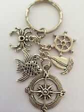 NAUTICAL Vintage Style Silver Color Key Ring bag charm birthday IN GIFT BAG