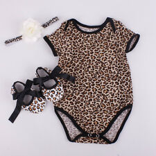 3pcs Newborn Baby Girl Jumpsuit Romper Dress Headband Shoes Outfits Clothes Set