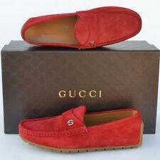 GUCCI New sz 11 G - US 11.5 Authentic Designer Mens Drivers Loafers Shoes red