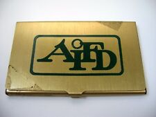 Vintage Collectible Business Card Holder: AIFD Logo Advertising