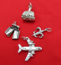 Lot 4 Vintage Sterling Silver Bracelet Charms Pendants Airplane Chaps  752g