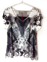 New One World Womens Printed Blouse Short Flutter Sleeve Kit Top Plus Size $50