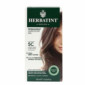 Herbatint Permanent Herbal Hair Color Gel, 5C Light Ash Chestnut, 4.56 Ounce
