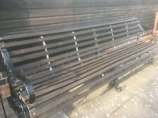 More details for garden/park wooden strap type bench. triple wrought/cast iron ends/supports